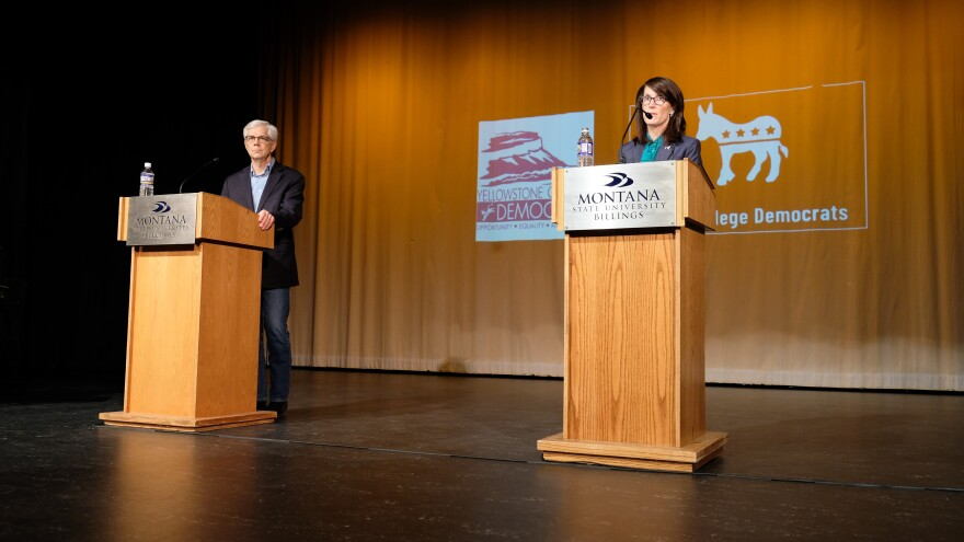 Mike Cooney and Whitney Williams fielding questions at Montana State University.