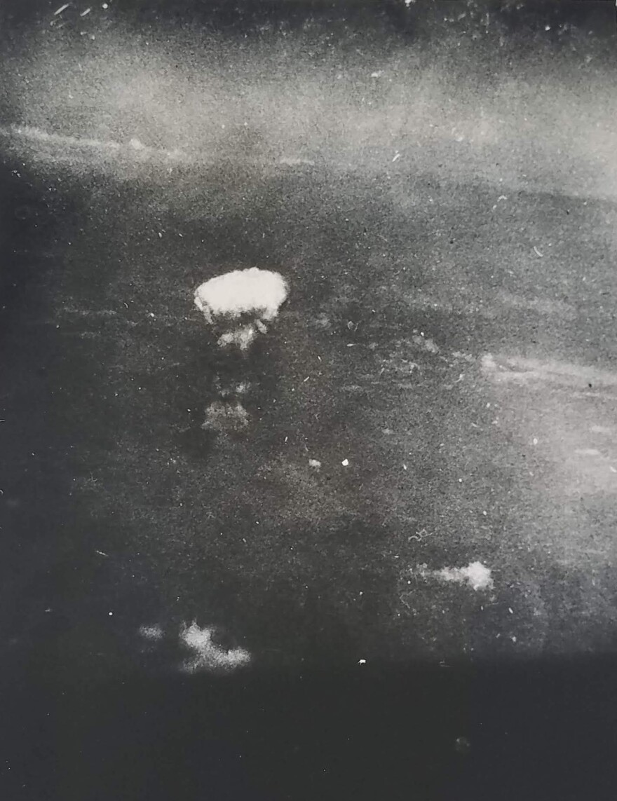 The atomic bomb explosion photographed from 30,000 feet over Hiroshima on Aug. 6, 1945.