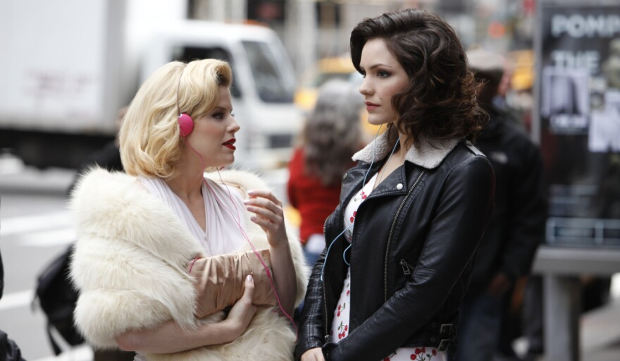 <strong>Ingenue Or Leading Lady?</strong> Ivy (played by Megan Hilty, left) and Karen (played by Katharine McPhee) compete for the coveted lead role in <em>Smash</em>, which premieres Feb. 6 on NBC.