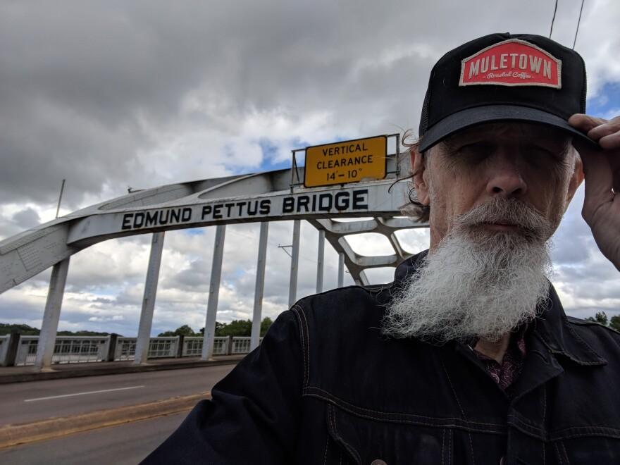 Walter Parks on historic Selma bridge