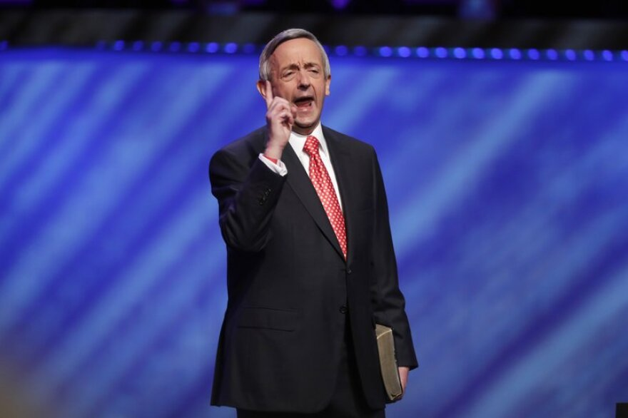 Pastor Robert Jeffress speaks to his congregation at First Baptist Dallas.