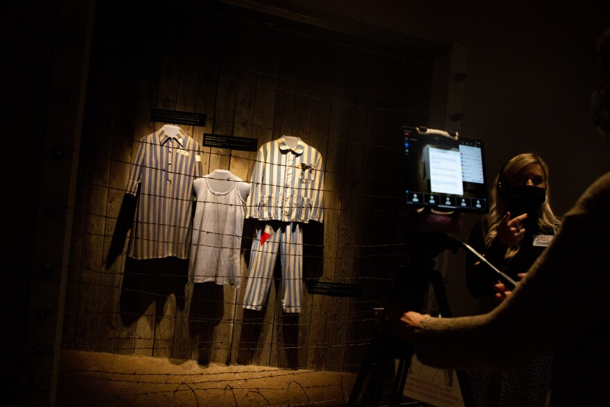 Pajamas with blue stripes, which were given to prisoners at concentration camps in Poland, are displayed at the Holocaust Museum.