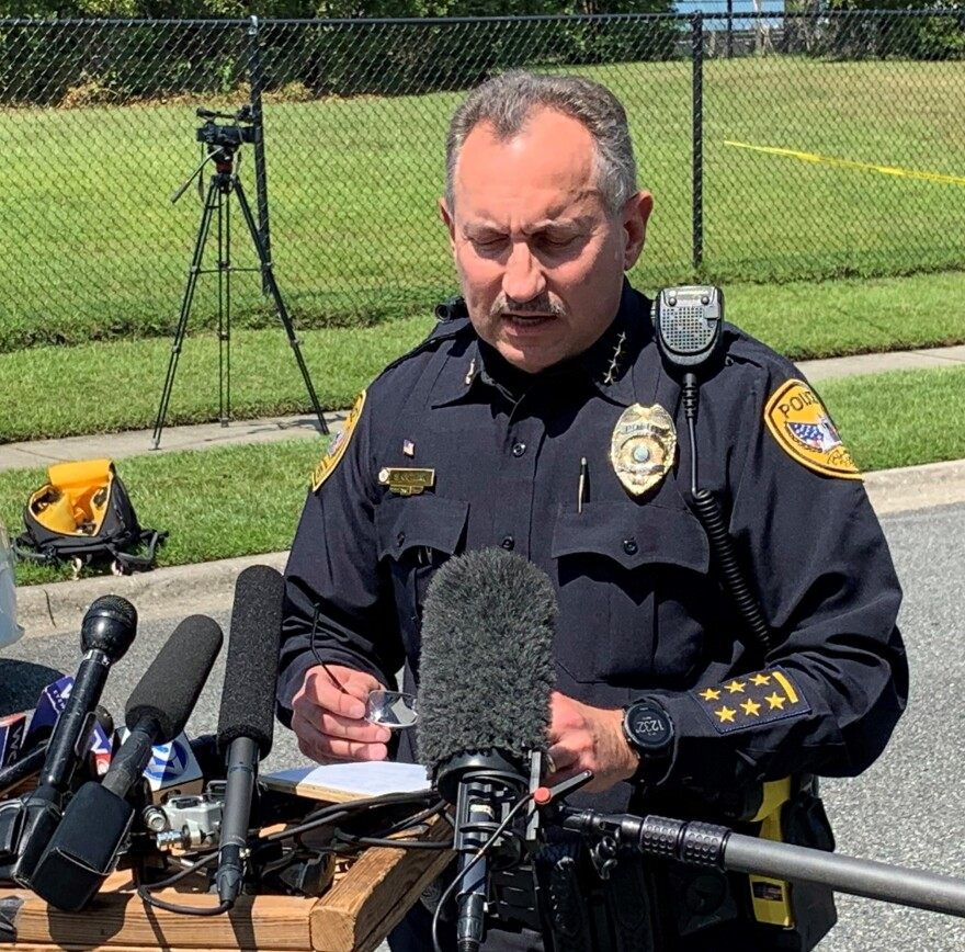 Tallahassee Police Chief Steve Outlaw briefing the media about the Dyke Industries stabbing.
