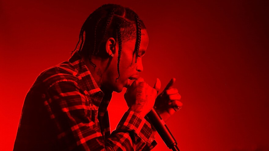 "Travis Scott guests alongside Kendrick Lamar on <em>Black Panther</em>'s flute-assisted ""Big Shot."""