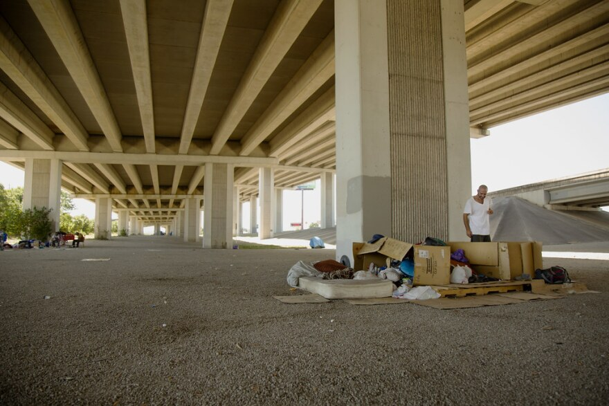 Camping under a freeway overpass