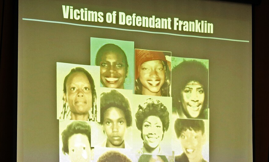 A slide image of victims displayed by the prosecution during Lonnie Franklin Jr.'s trial. Franklin was dubbed the Grim Sleeper for the serial murders.