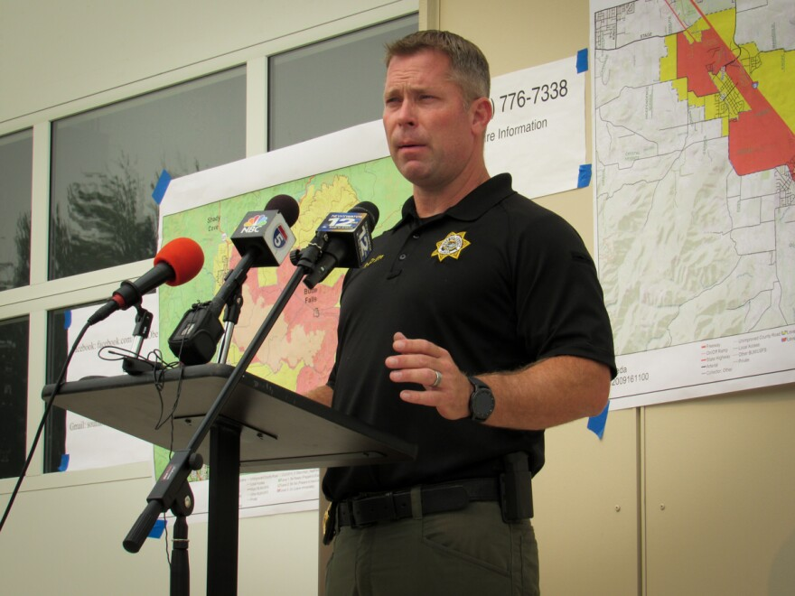 Jackson County Nathan Sickler speaks at a press conference regarding the Almeda Fire.