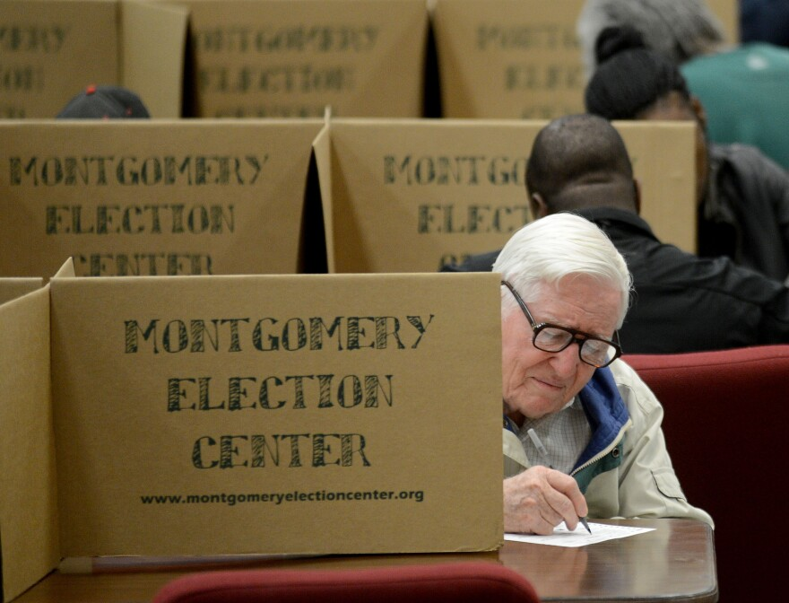 Mervel Parker fills out his ballot at Aldersgate United Methodist Church in Montgomery, Ala., on Tuesday. Alabama is one of nine states with a history of discrimination that the Voting Rights Act requires to obtain pre-clearance before changing any election procedures.