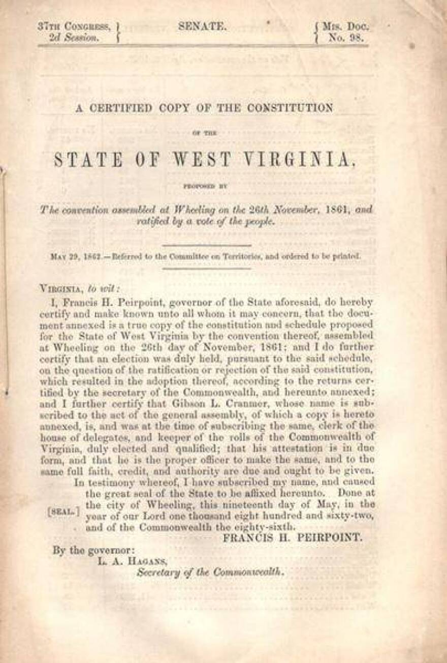 On August 22, 1872, West Virginians narrowly ratified a new state constitution by less than 5,000 votes, while rejecting a separate proposal that would have restricted office-holding to whites only.