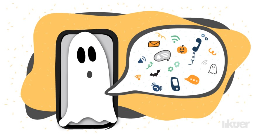 An illustration of a ghost in front of a cellphone with a speech bubble to the right of it.