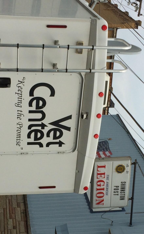The V.A.'s Mobile Unit outside American Legion Post 31 in Shinnston, West Virginia