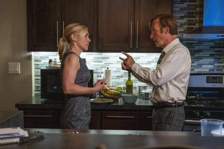 Kim Wexler (Rhea Seehorn) and Jimmy McGill (Bob Odenkirk) in  <em>Better Call Saul</em> on AMC