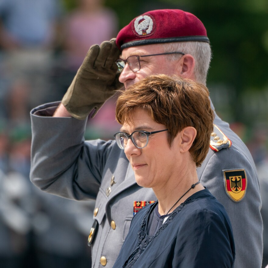 German Defence Minister Annegret Kramp-Karrenbauer and the Inspector General of the German Armed Forces Bundeswehr Eberhard Zorn (left) inspect the guard of honour during a swearing-in ceremony of German Bundeswehr soldiers at the Bendlerblock in Berlin, last July.