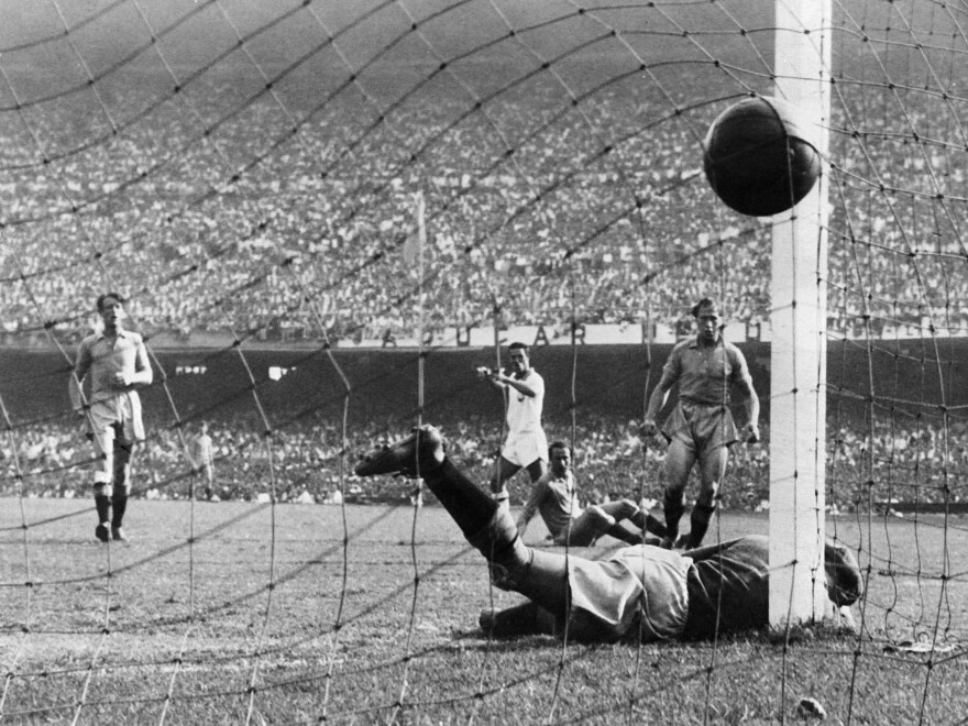 Brazilian forward Ademir Marques de Menezes (center) scores during a 7-1 win over Sweden in the 1950 World Cup at Maracanã stadium, in Rio de Janeiro. The stadium's condition more than six decades later is substantially less glorious than in this moment.