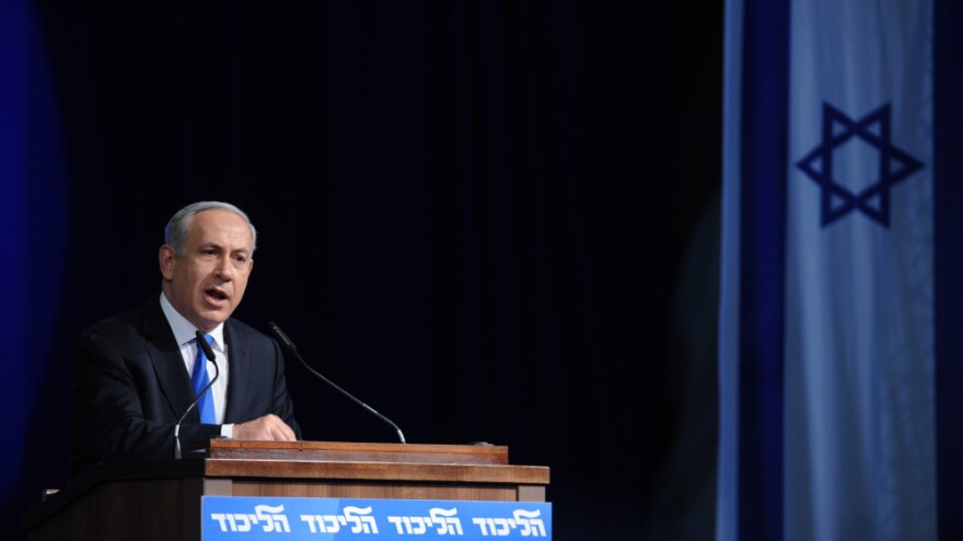 Israeli Prime Minister Benjamin Netanyahu addresses a Likud party convention in Tel Aviv, May 6. Netanyahu said Monday that the next general elections would be held on Sept. 4, instead of the original schedule of October 2013.