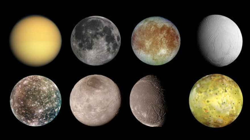 (Top row, from left) Titan, Earth's moon, Europa and Enceladus. (Bottom row, from left) Callisto, Charon, Ariel and lo.