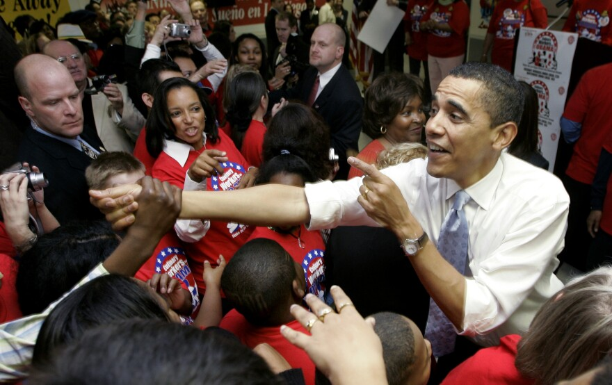 Then-Democratic presidential hopeful Barack Obama works the crowd at a rally with the Culinary Workers Union Local 226 in Las Vegas in January 2008.
