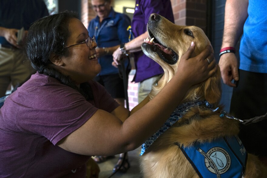 A visitor to the community memorial service Wednesday, Aug. 14, greets a therapy dog at the entrance to Southwest University Park stadium. The dogs were brought in to provide comfort to community members during the event.