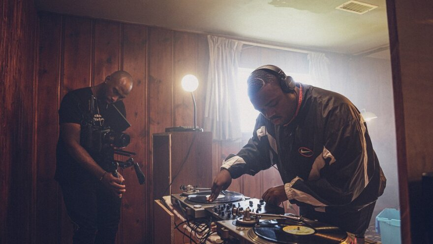 """creator/director Isaac Yowman, left, and Rosha Washington as DJ Screw filming a scene from the visual tribute """"All Screwed Up."""""""