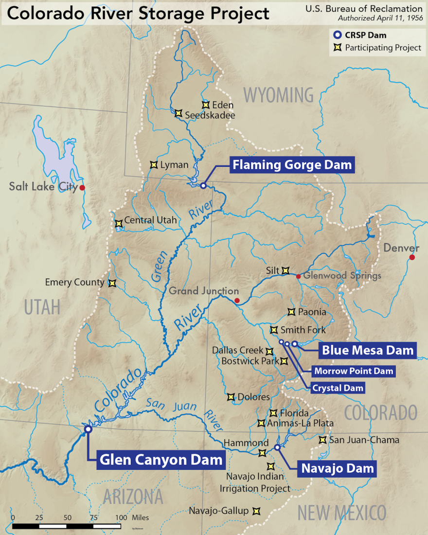 Map of theColorado River and tributaries with dam locations including: Flaming Gorge Dam, Blue Mesa Dam, Morrow Point Dam, Crystal Dam, Navajo Dam and Glen Canyon Dam.