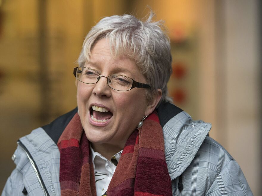 BBC's China editor Carrie Gracie speaks to the media outside BBC Broadcasting House in London on Jan. 8. She has resigned her position in Beijing in protest over what she called a failure to sufficiently address a gap in compensation between men and women at the public broadcaster.