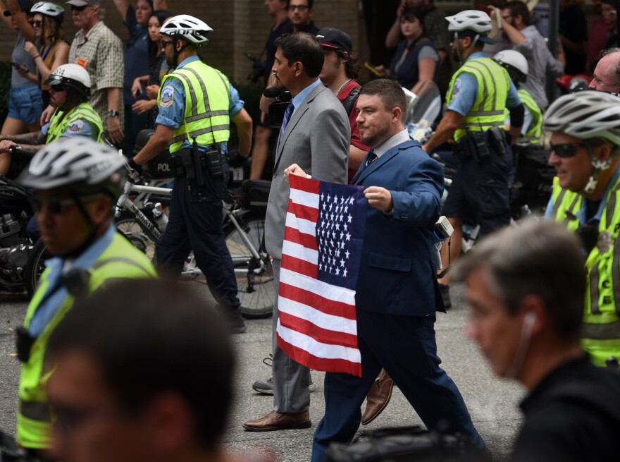 White nationalist Jason Kessler marches during the Unite the Right rally in Washington, D.C.