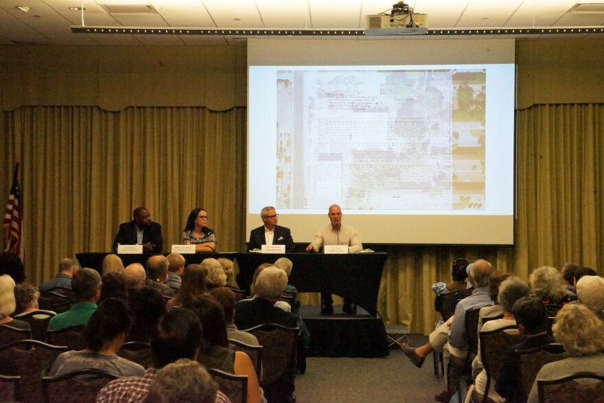 From left to right: Leroy Moore, Tampa Housing Authority; Rebecca O'Sullivan, FL Public Archaeology Network; James Borchuck and Paul Guzzo, both of the Tampa Bay Times, speak about the investigation into Zion Cemetery at the Tampa Bay History Center Oct.