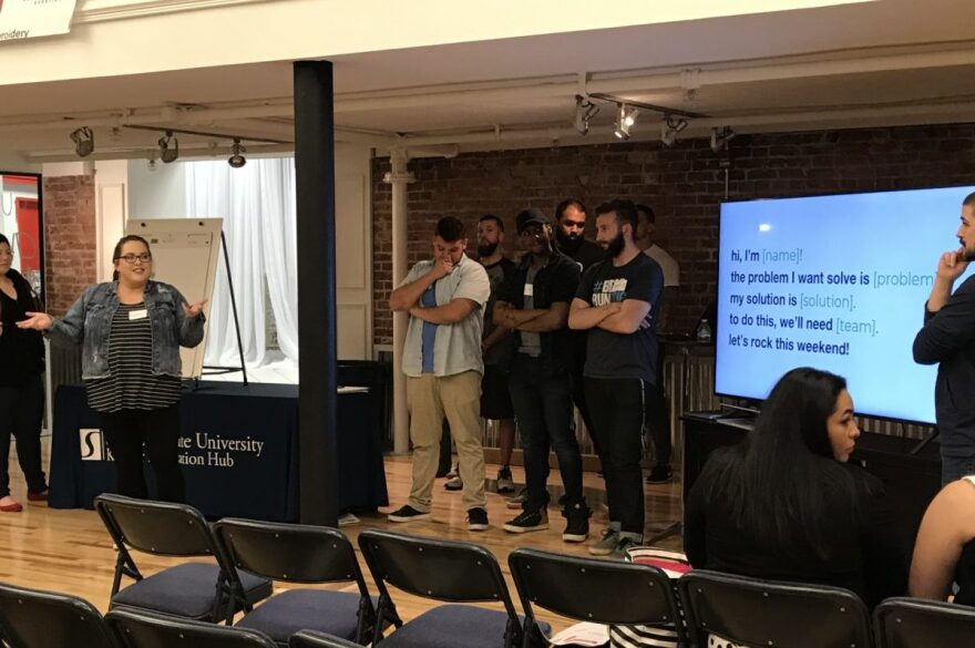 Participants pitch their business ideas at the recent Startup Weekend Portsmouth.