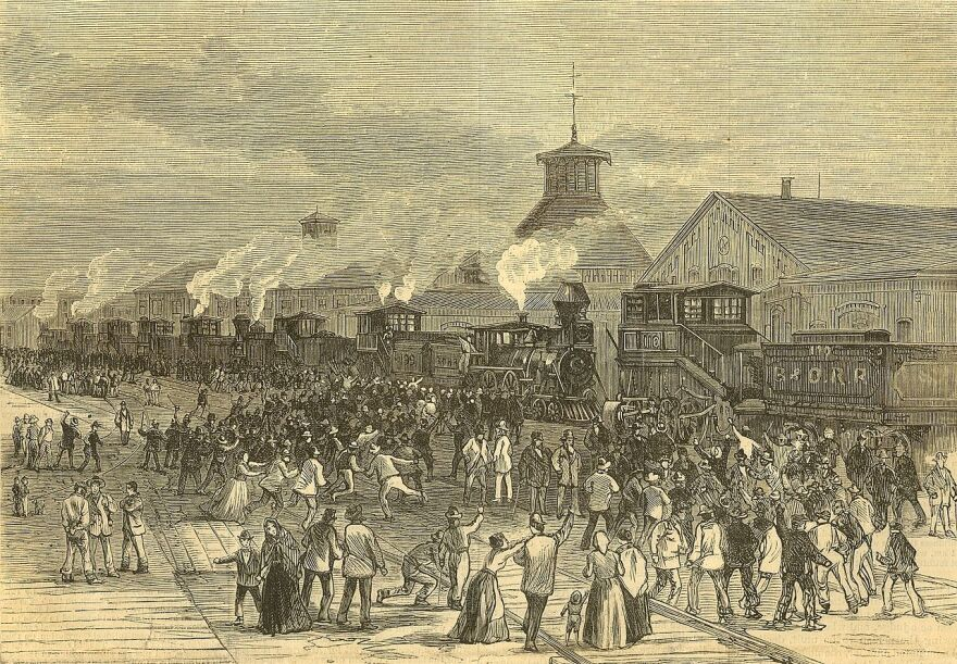 """""""Blockade of Engines at Martinsburg, West Virginia,"""" an engraving on front cover of """"Harper's Weekly, Journal of Civilization,"""" Vol XXL, No. 1076, New York, Saturday, August 11, 1877."""