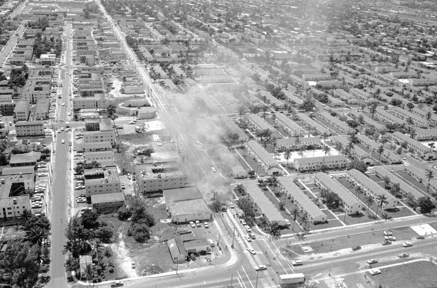 Liberty City housing projects, shown here in an aerial photo from 1968, have a history of being a hotbed of violence and police distrust. Now, residents welcome Miami-Dade County 's plan to demolish the neighborhood as a step towards reducing crime, but hope the government keeps their promise on restoring units before people are displaced.