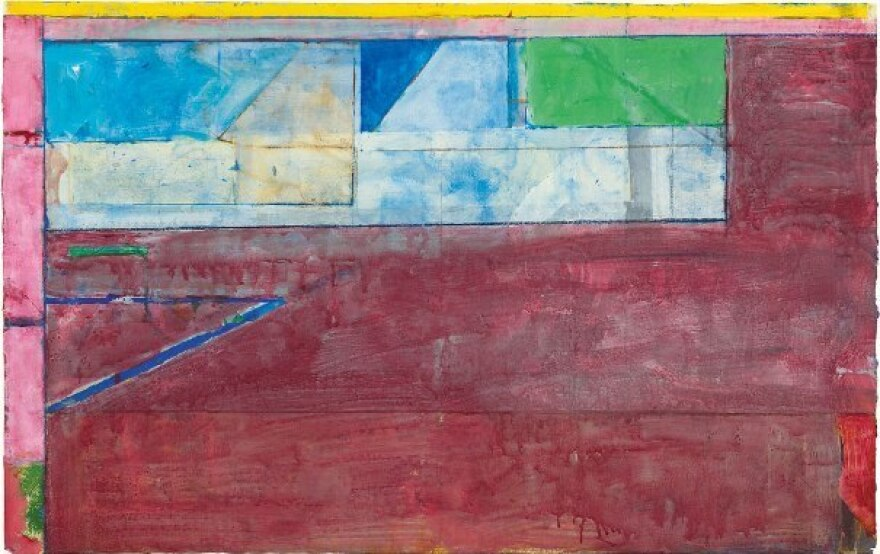 """Diebenkorn played music in his studio while he painted — he loved Bach and Mozart — and it's reflected in his composition of colors. """"I really do see them as kind of music,"""" says curator Sarah Bancroft. Above, Diebenkorn's 1984 work, <em>Untitled #26</em> — gouache, acrylic and crayon on joined paper."""