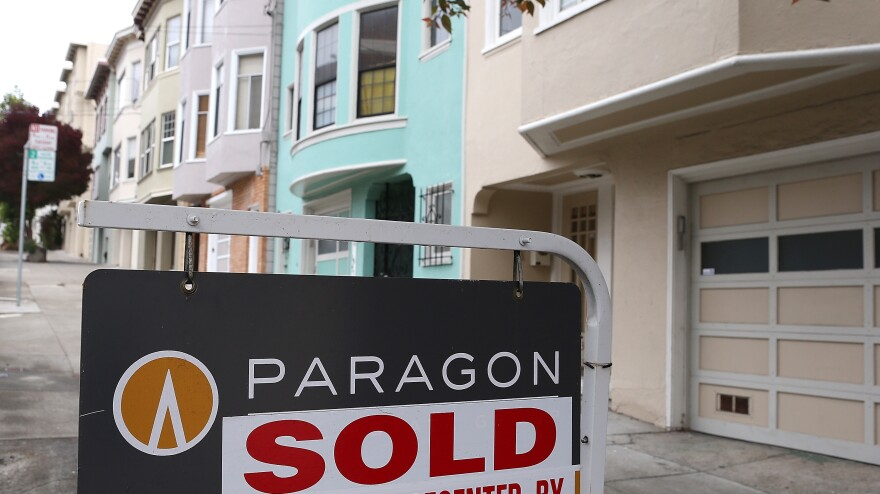 """San Francisco: A """"sold"""" sign in front of a home earlier this year."""