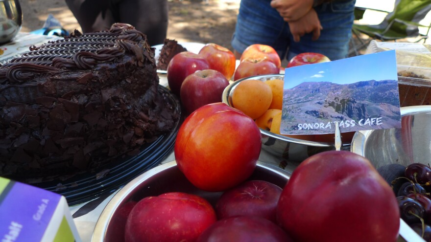 Chocolate cake, fresh fruit and other goodies greet weary hikers at the Sonora Pass Cafe.