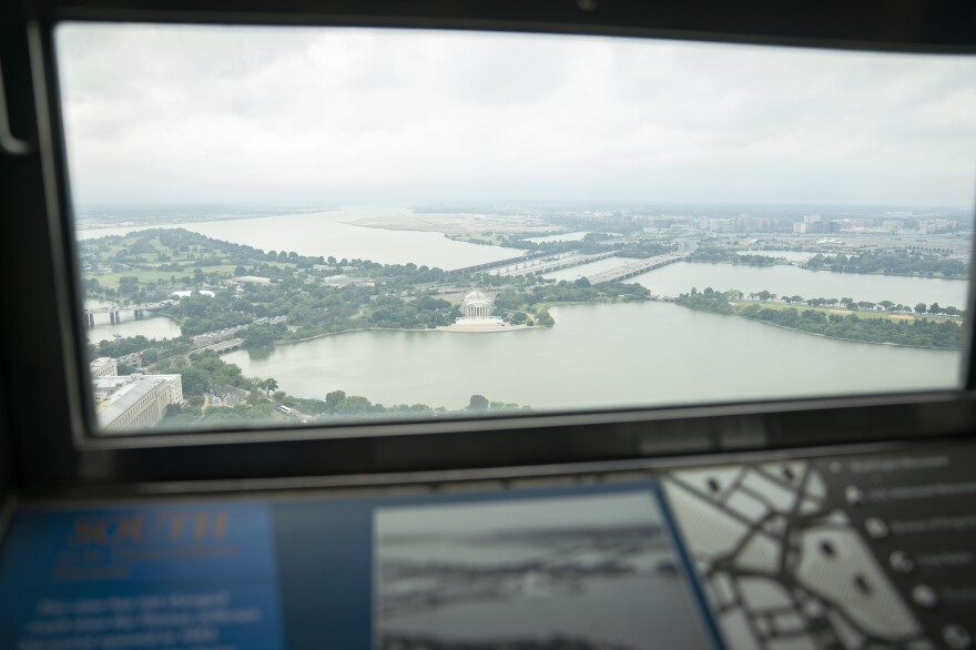 The view from the south lookout window inside the newly renovated Washington Monument.