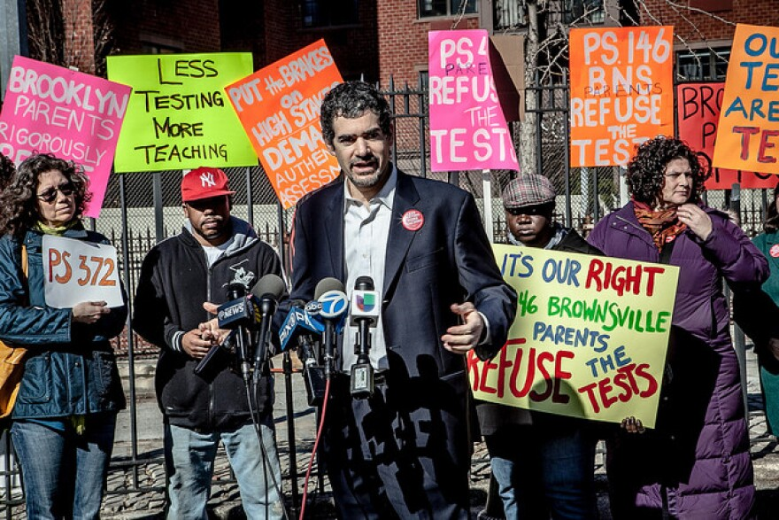 Parents at a Brooklyn school opt out of state tests earlier this week.