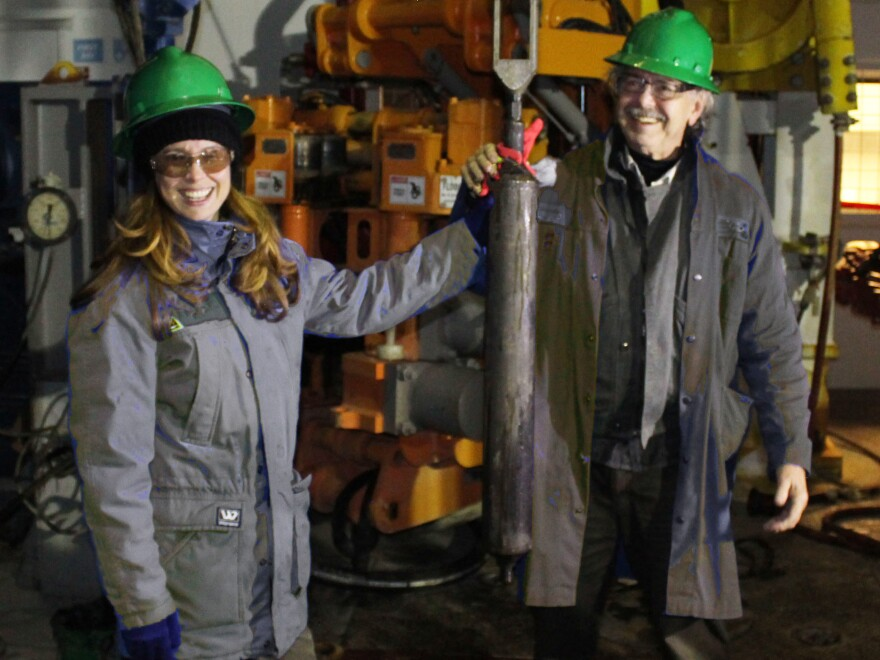 Deep Isolation CEO Elizabeth Muller and her father, Richard Muller, after the company successfully inserted and then retrieved a canister from a deep bore hole in 2018.