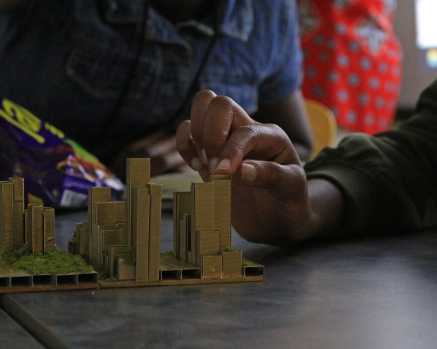 Students at the ULI Hip-Hop Architecture Camp at Johnson C. Smith University used staples to design cities based on lyrics they composed.