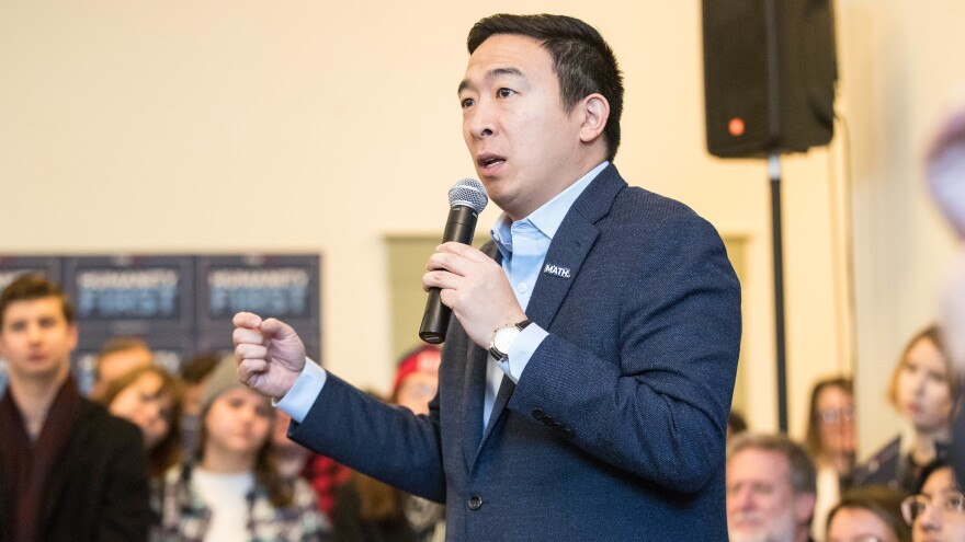 Democratic presidential candidate Andrew Yang speaks during a campaign event at Hopkinton Town Hall on Feb. 9 in Hopkinton, N.H.