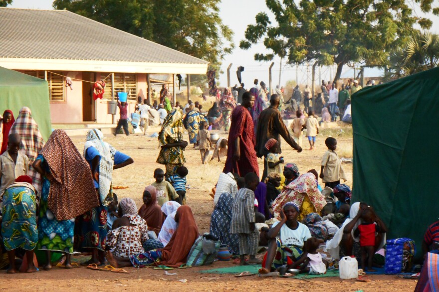 Civilians displaced by Boko Haram sit at a camp near Yola, the capital of northeast Nigeria's Adamawa state.