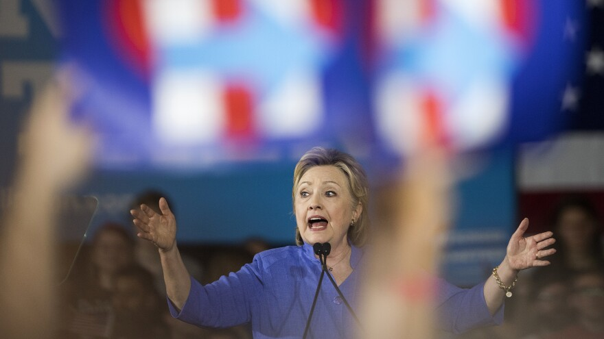Hillary Clinton speaks at a campaign event in Cincinnati on Monday.