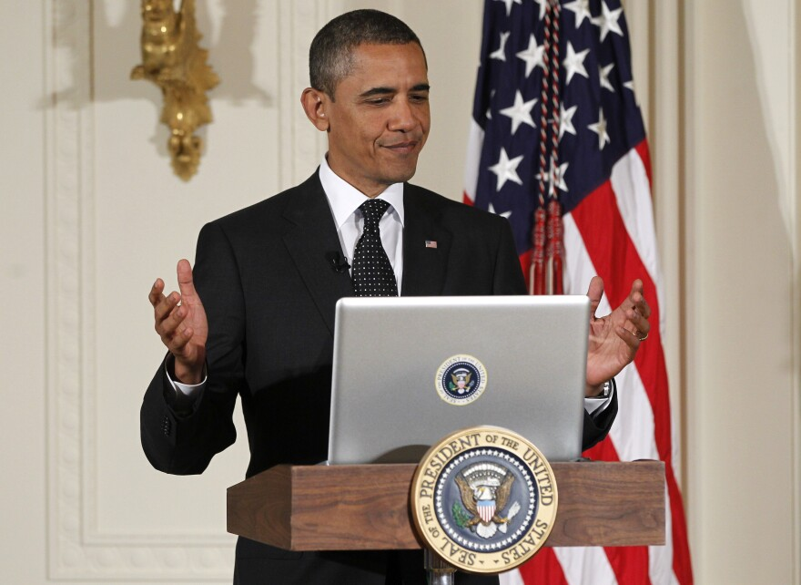 """Few things likely please the Obama White House as a political battle fought on social media. Above, President Obama participates in a """"Twitter Town Hall"""" in 2011."""