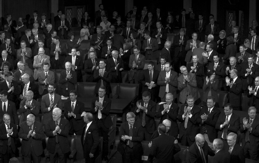 Republicans clap after Congress completes the tally of Electoral College votes, officially electing Donald Trump as President on Jan. 6.