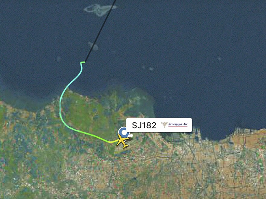 This radar image shows the flight path of Indonesian Sriwijaya Air Flight 182 before it dropped off radar on Saturday.
