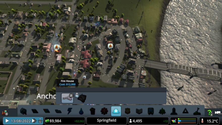 This is a shot of only one of many very very bad traffic configurations I created in <em>Cities: Skylines. </em>Yes, two houses are on fire.