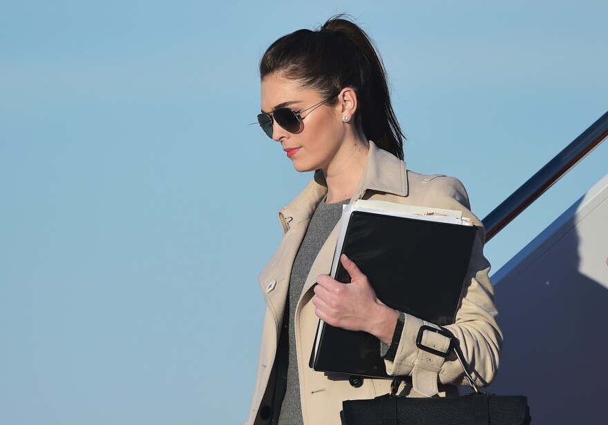 Hope Hicks steps off Air Force One on Feb. 6 at Andrews Air Force Base in Maryland.
