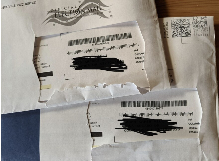 damaged ballot envelopes