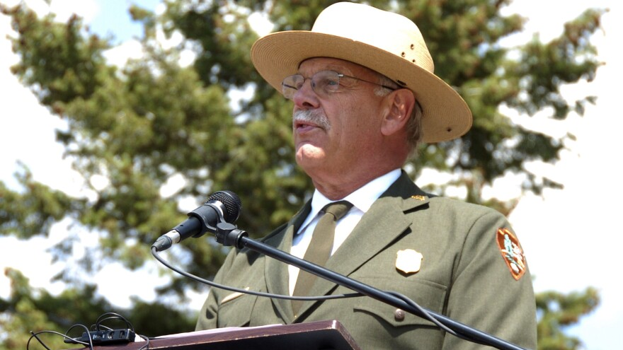Yellowstone Superintendent Dan Wenk speaks at an Aug. 17, 2017 event marking a conservation agreement for a former mining site just north of the park in Jardine, Mont.
