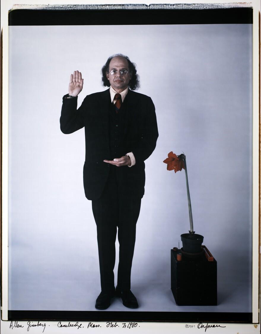 "Her portrait of Ginsberg. The inscription at the bottom reads, ""Allen Ginsberg. Cambridge, Mass. Feb. 7, 1980."""