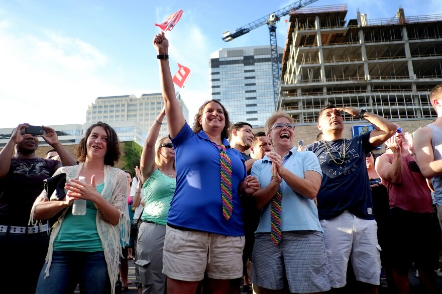 Revelers rallied in downtown Austin Friday after SCOTUS legalized same-sex marriage. State Rep. David Simpson (R-Longview) says we should 'divorce marriage from government if we want to protect it.'