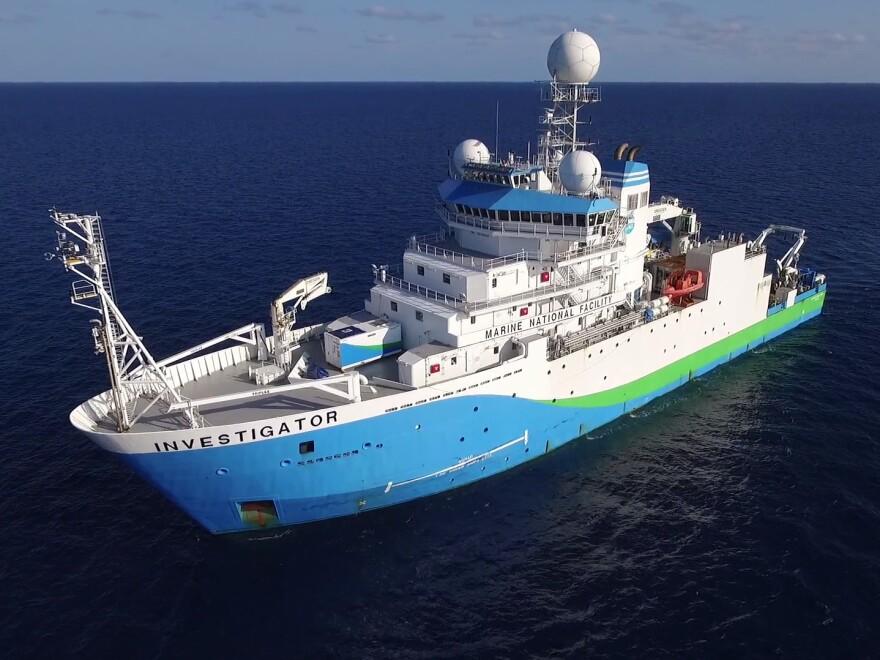 The marine research vessel Investigator at sea.